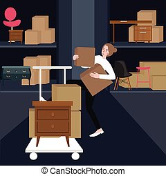 woman girls buying furniture home interior carrying box of cardboard in shop