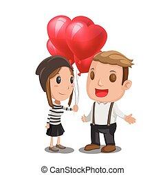Woman Give Heart Balloon Man Vector