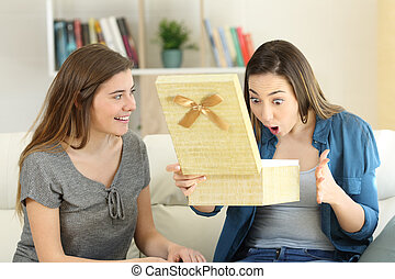 Woman giving a gift to her amazed friend