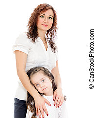 Woman giving a hug to her little daughter. Isolated on white