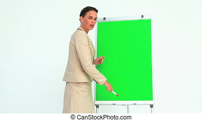 Woman giving a presentation with a board