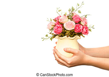 woman giving bouquet of flowers