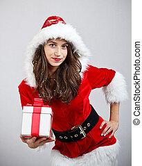 Woman giving gift