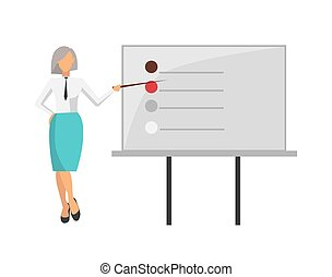 Woman Giving Information on Vector Illustration