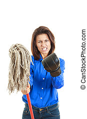 woman giving mop to you or camera with boxing glove on one hand