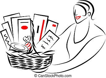 woman giving or receiving a gift basket