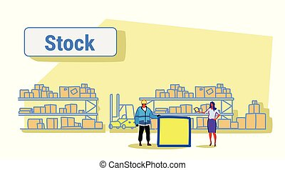woman giving paper document to man worker in uniform storage logistic delivery service stock concept shelves with boxes warehouse interior sketch horizontal banner