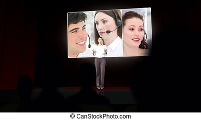 Woman giving presentation business