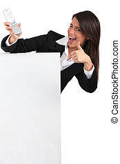 Woman giving the thumbs up