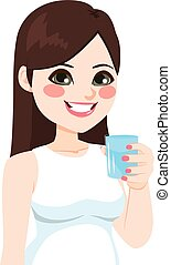 Woman Glass Water - Beautiful young brunette woman having...