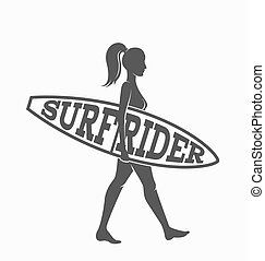 Woman goes surfing with surfboard. Surf rider logo. Vector illustration