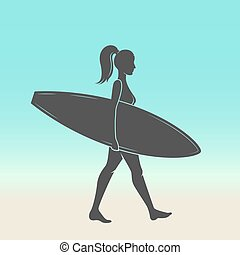 Woman goes surfing with surfboard. Surf vintage logo. Vector illustration.