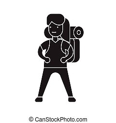 Woman going camping black vector concept icon. Woman going camping flat illustration, sign