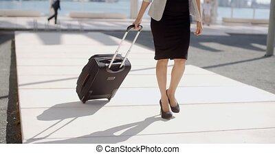 Woman going on a business trip