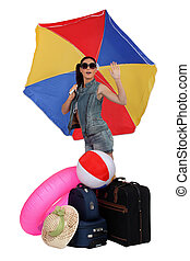 Woman going on vacation to a sunny location