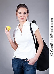 Woman going to tennis training