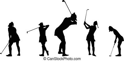 woman golf player - Vector silhouette of a woman golf player...