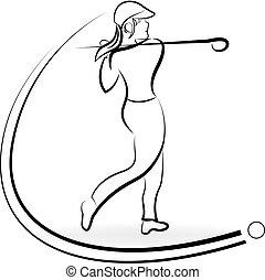 Woman golf player logo