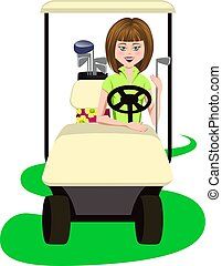Woman Golfer in a Golf Cart