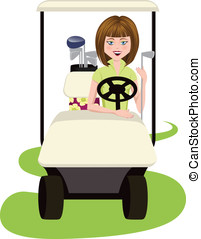Woman Golfer in Cart - vector illustration of a woman golfer...