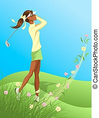 Woman Golfer Swinging Out of Flower - Illustration of a...