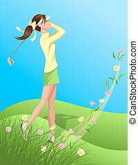 Woman Golfer Swinging Out of Flower