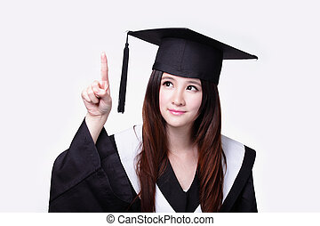 Woman graduate student touch something - Woman graduate...