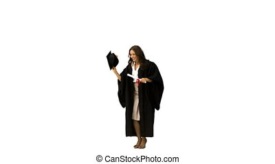 Woman graduating in slow motion