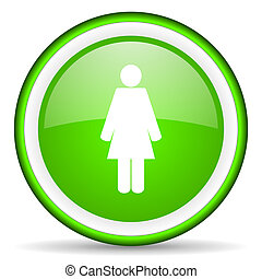 woman green glossy icon on white background