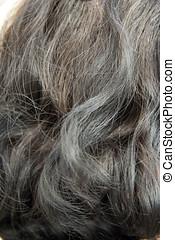 Woman grey hair - old woman grey hair outdoor
