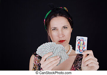 Woman guessing on cards