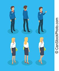 Woman Guide Consultant Set Vector Illustration