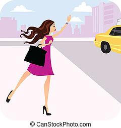 Vector illustration of a cartoon woman on the street hailing to a taxi cab, wearing a handbag and a pink dress.