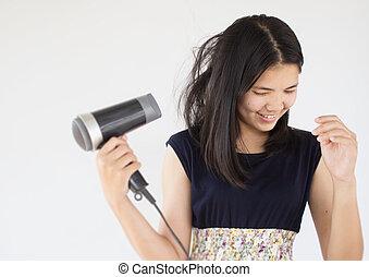 Woman hair care - Asian woman hair care,Woman beauty...