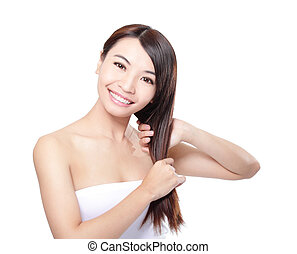 Woman hair care - Woman touch long straight hair care and...