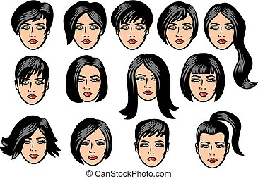 woman hair collection.eps