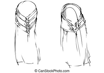 woman hair-do for long hair kind with behind - a woman...