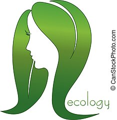 Woman hair leafs eco logo