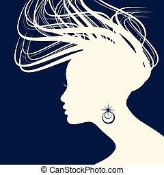 Woman Hair style Silhouette