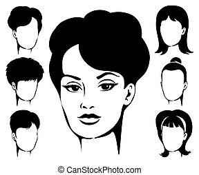 Woman Haircut Emblem Set