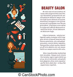 Woman hairdresser beauty salon poster flat design for hair...