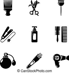 Woman hairdresser tools icons set, simple style