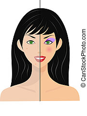woman, half natural, half make up - portrait of woman, half...