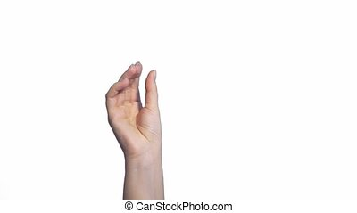Woman hand click, snapping fingers. Gesture, sign, symbol....