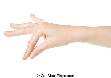 Woman hand closeup holding items