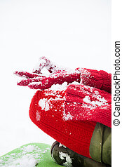 woman hand closeup in lotus yoga position in snow - woman...