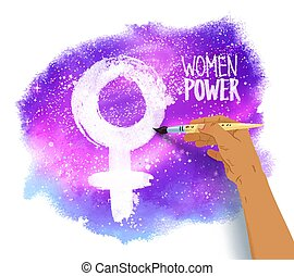 Woman hand drawing female symbol