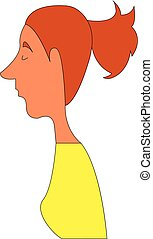 Woman hand drawn design, illustration, vector on white background.