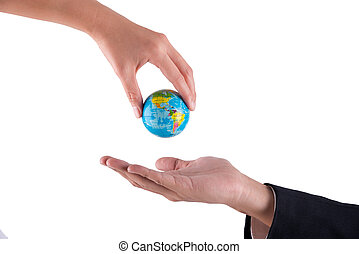woman hand give a globe to businessman hand isolated on white background