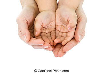 Woman's hand hold a child's handful